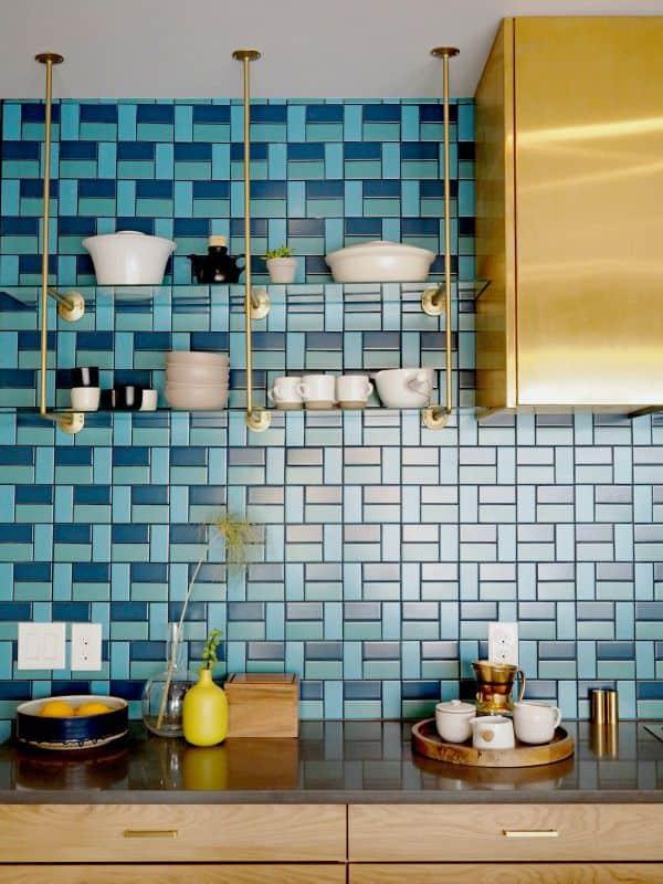 Tile backsplash in dark blue
