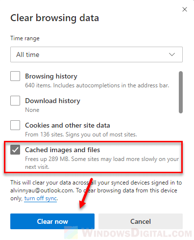 To clear the Microsoft Edge cache in Windows 10