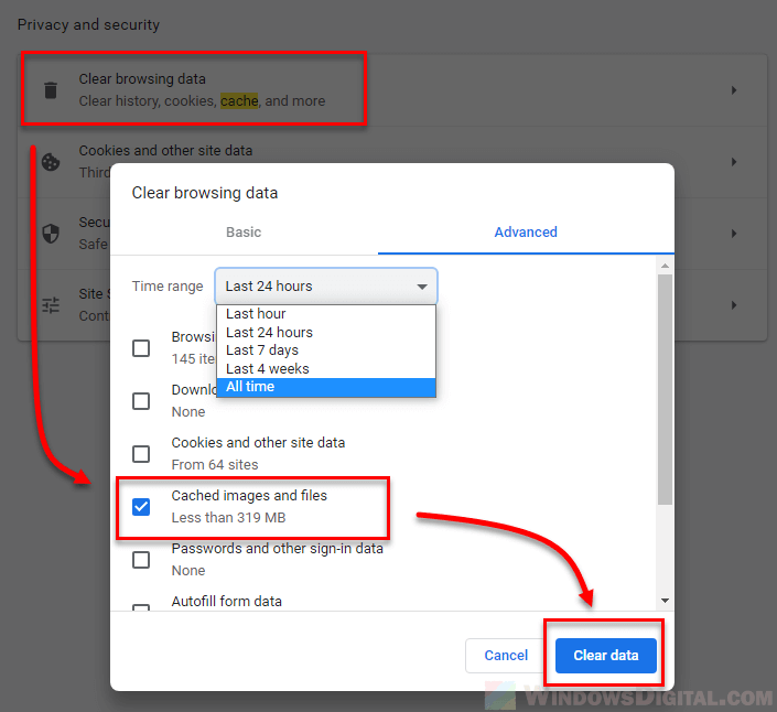 To clear the Windows 10 Chrome cache
