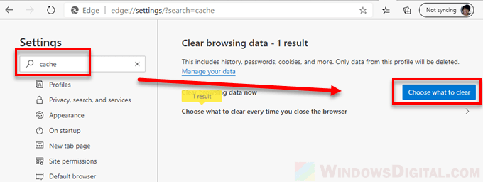 To clear the Windows 10 Edge