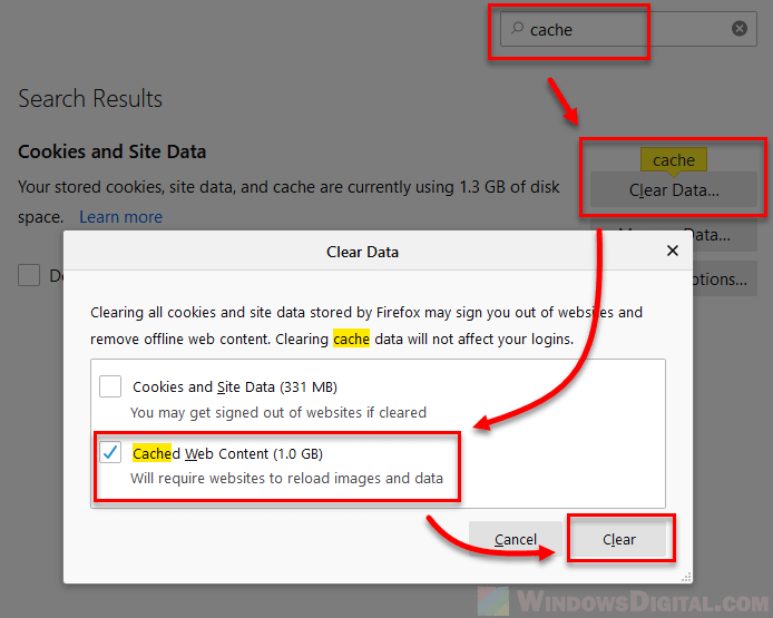 To clear the Windows 10 Firefox cache