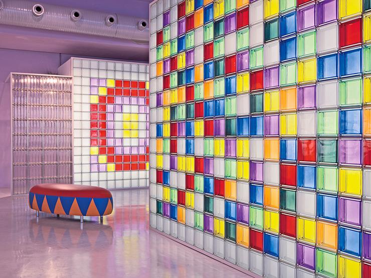 Bloques de vidrio de colores