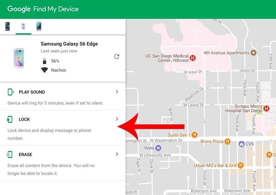 Unlocking the LG Phone screen with Google Find My Device