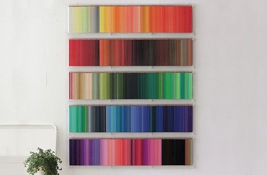 Wall display of coloured pencils