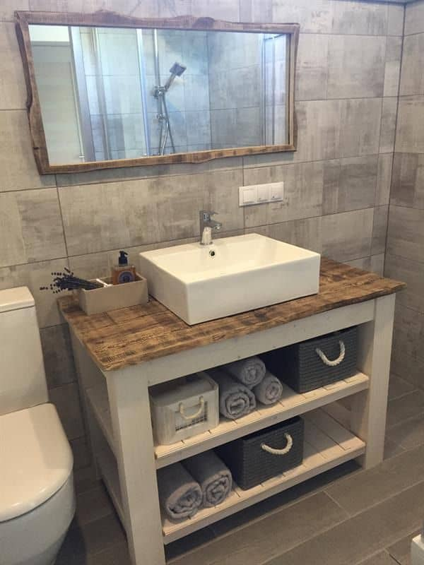 White Vanity with Reclaimed Board (by. buildsomething.com)