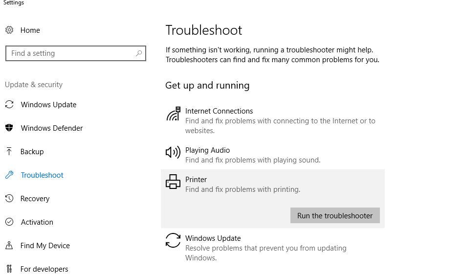 Windows 10 Troubleshooting for Printers