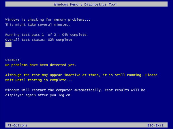 Windows memory diagnostic test