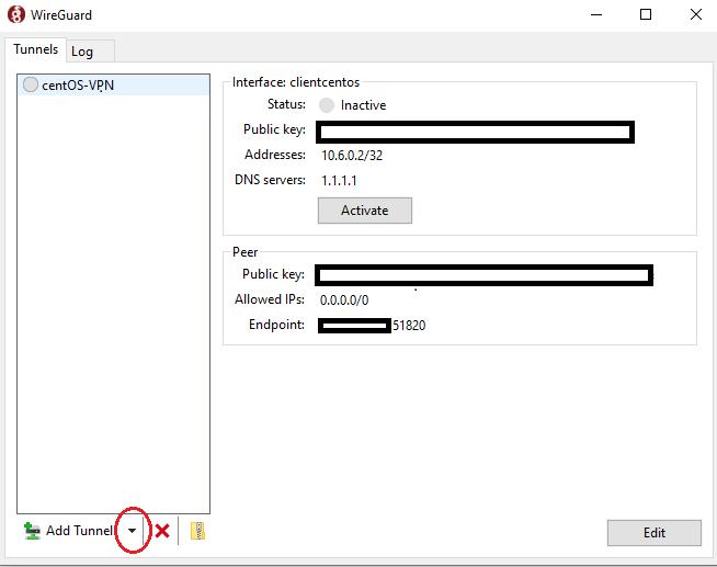 WireGuard client configuration