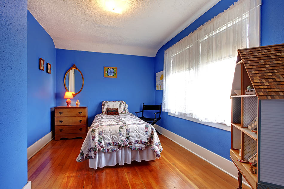 Wooden and blue furniture