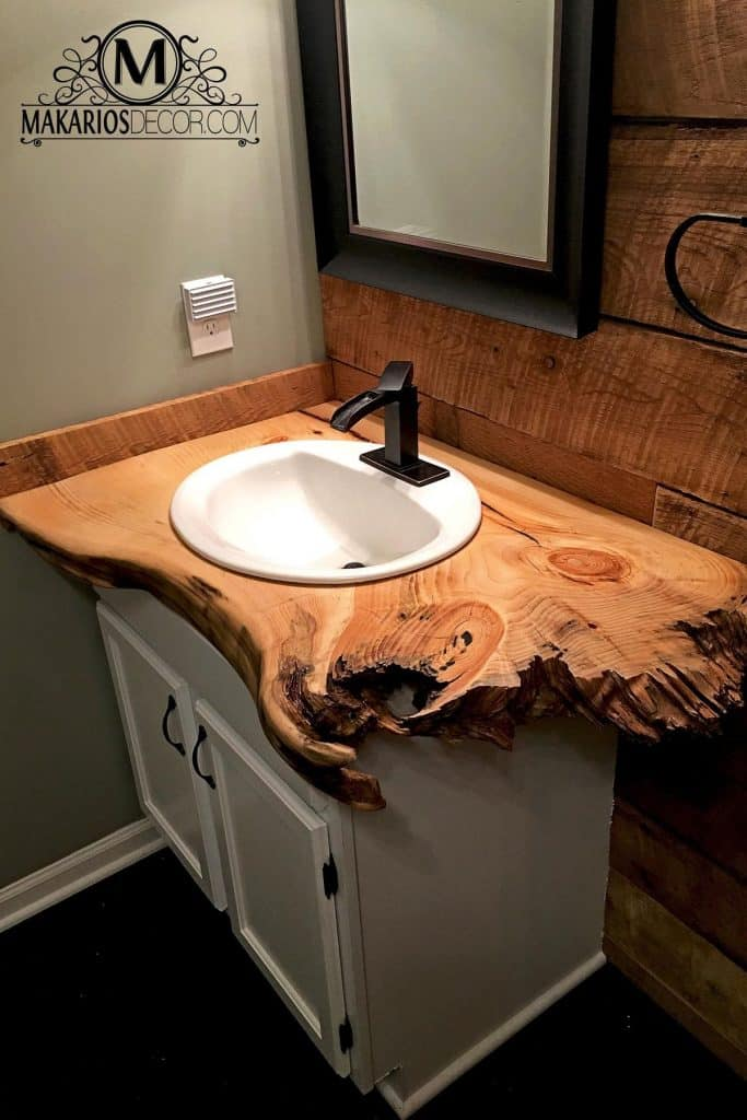 Wooden Board with White Vanity (by. etsy.com)
