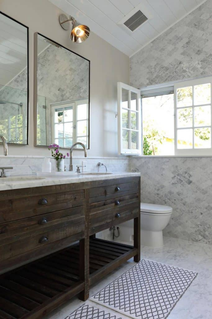 Wooden Vanity with Double Sink (by. homedit.com)
