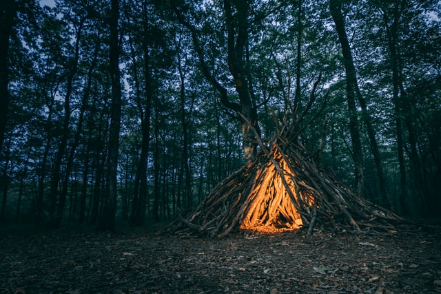 Campfire in a teepee