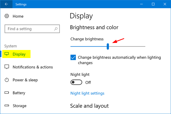 Changing the brightness of Windows 10