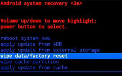 Delete data / restore Android factory settings