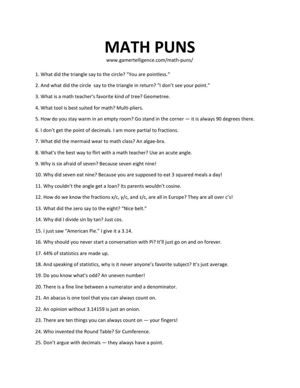 Downloadable and printable list of mathematical puns in jpg or pdf format.