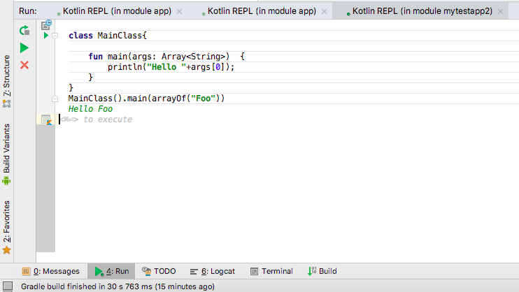 Run single kotlin class with main function in android studio –