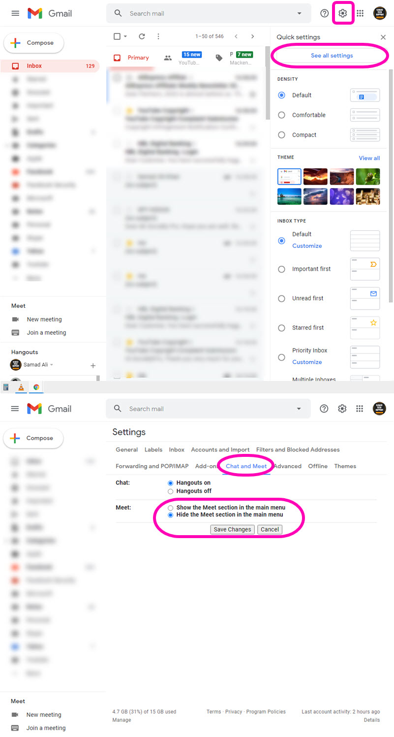 Hide or disable Gmail for the desktop