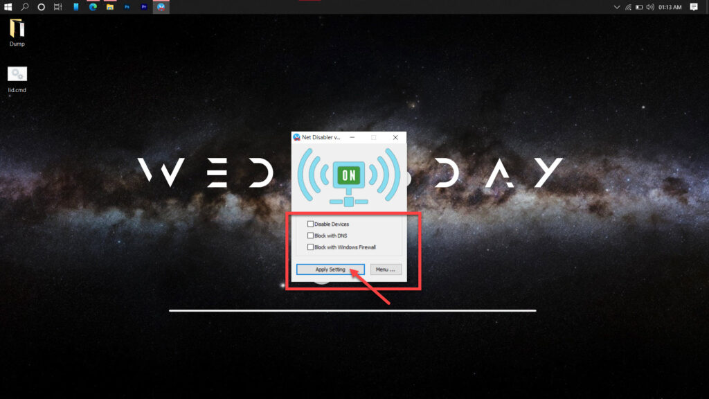 How can I temporarily disconnect the Internet connection to my Windows PC?