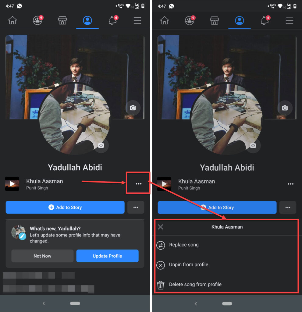 How do I add music to my profile and Facebook messages?