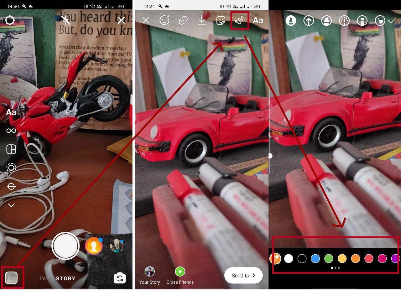 How do I change the background color of my Instagram stories?