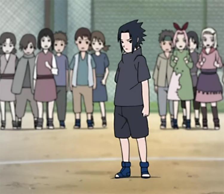 Little Sasuke (black and grey) in the anime Naruto.