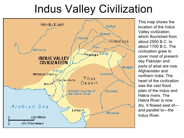 Map of the civilization of the affected Indus Valley