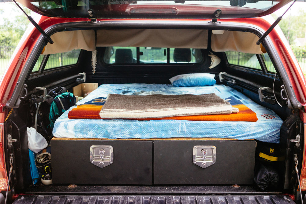 Option Sleep and storage facilities for truck camping.