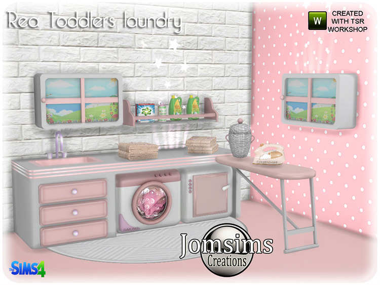 Rea Toddlers Washing by jomsims for The Sims 4