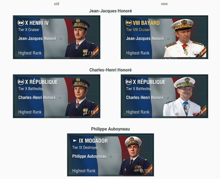 Replacement of photos and names of individual commanders with a historical mod of the same name.