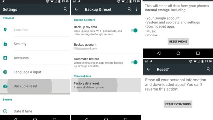Restore Android to factory settings to get rid of insufficient storage space