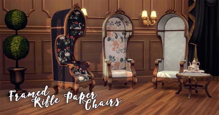 Sims 4 CC Framed Gunpaper Armchairs