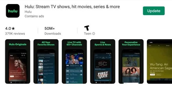 Upgrade of the Hulu application in Roku