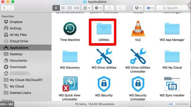 Utilities opened on the Mac
