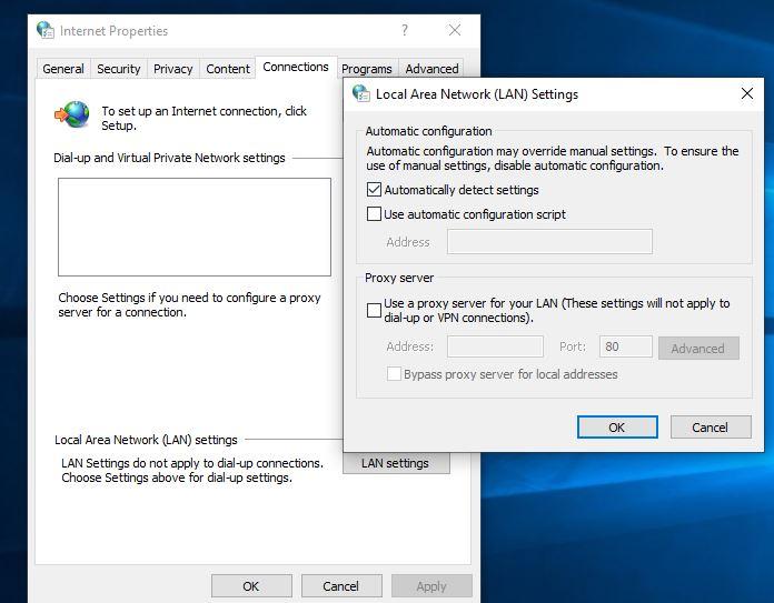 Windows 10 proxy settings