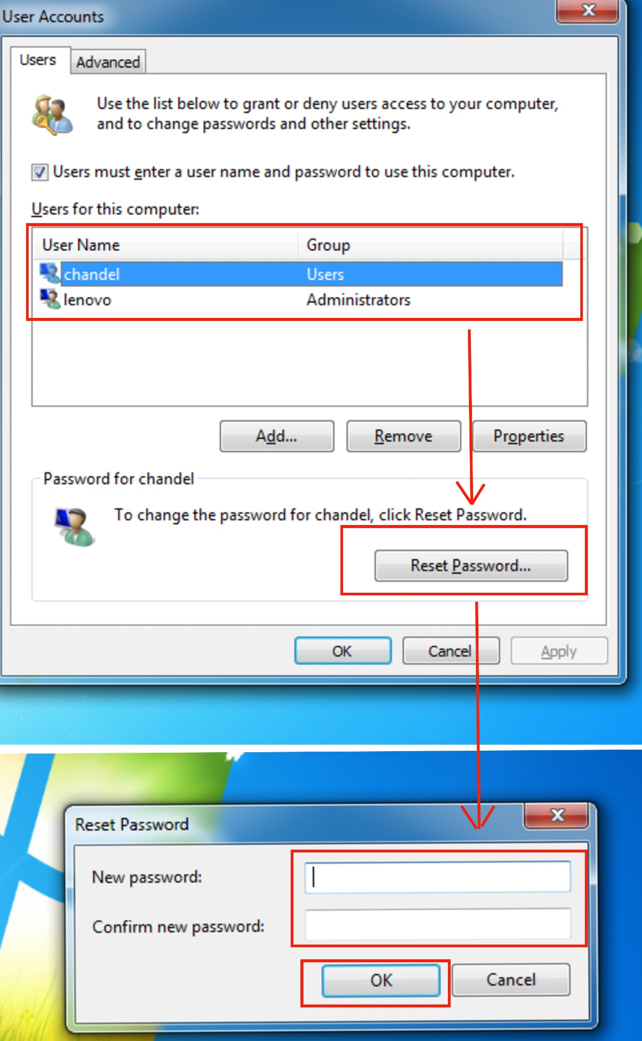 How to change and remove the password in Windows 7?