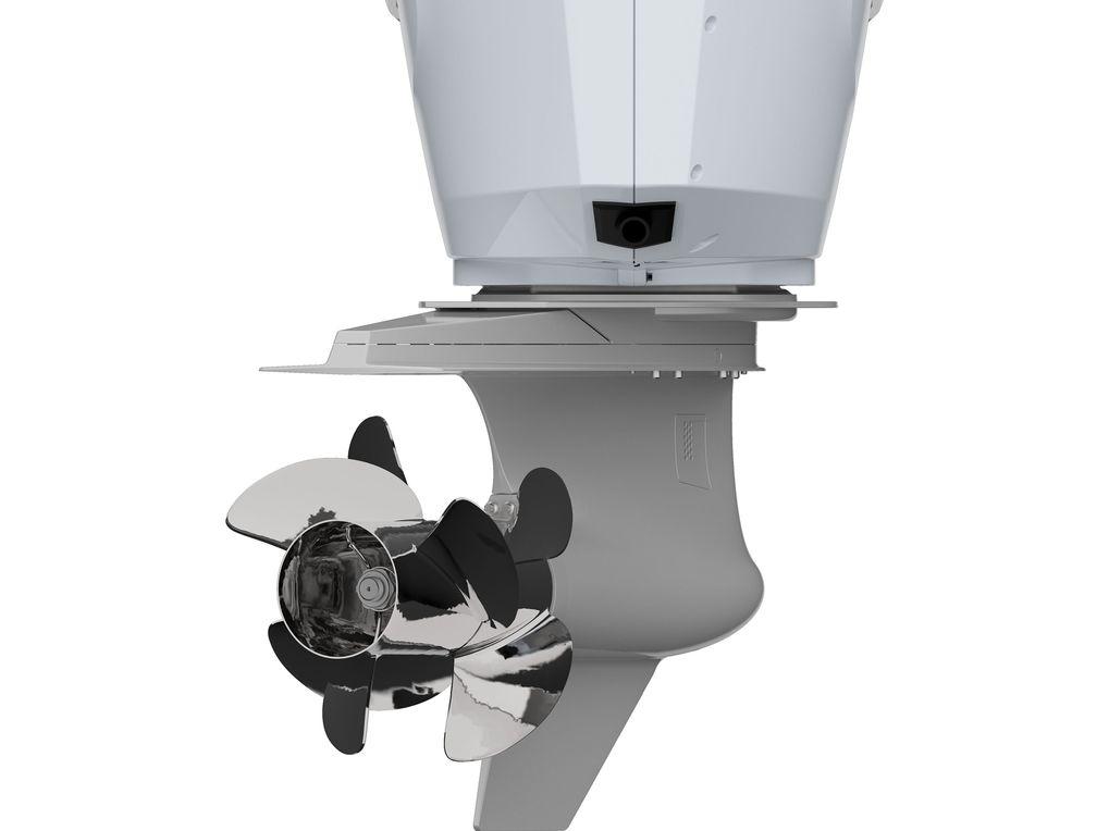 a closer view of the dual prop bottom turning half of the new Verado outboard motor