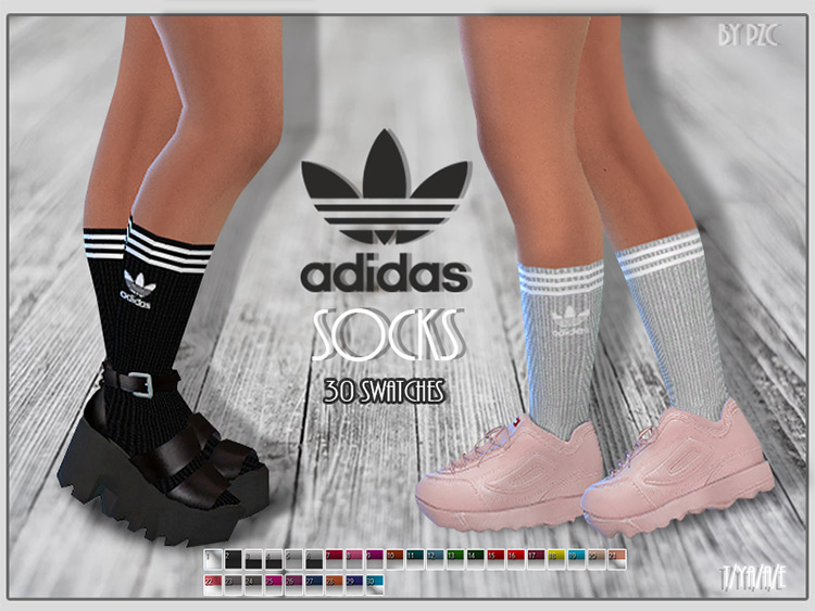 Adidas Socks by Pinkzombiecupcakes Sims 4 CC