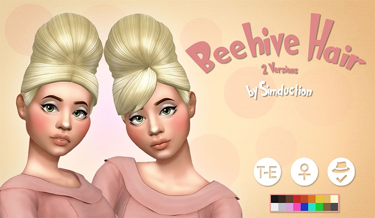 Beehive Hair CC - Sims 4