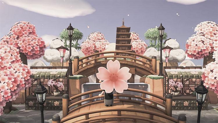 Cherry Blossom Bridge Area - ACNH