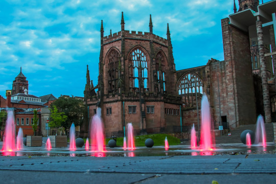 Coventry Cathedral with fountain