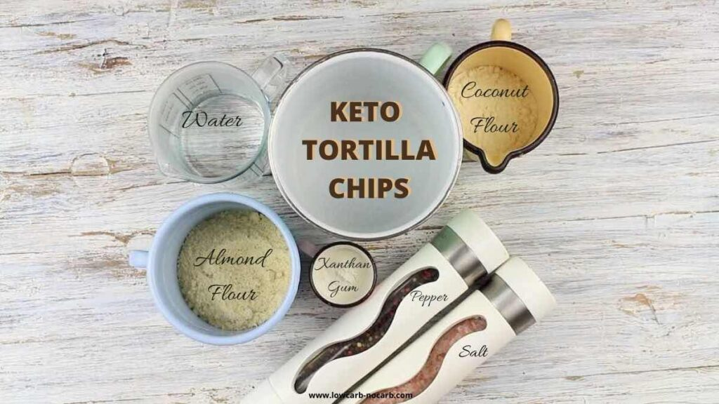 Crunchy Keto Tortilla Chips ingredients together in a separate cups