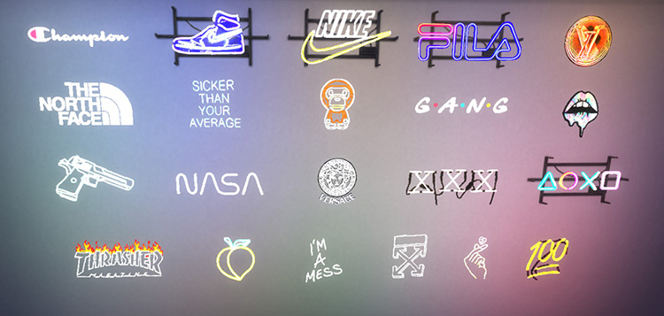 Fixed Neon Signs Sims 4 CC