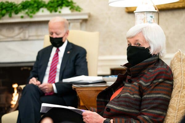 """Janet Yellen in the Oval Office in January.Ms. Yellen said the U.S. """"places a high priority on deepening our international engagement and strengthening our alliances."""""""