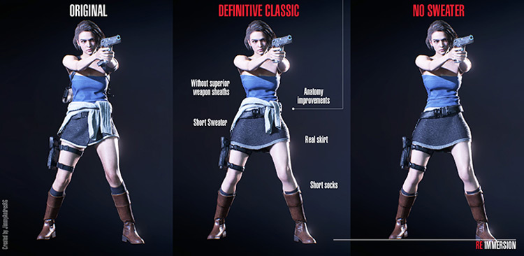 Jill Definitive Classic Costume mod for RE3R
