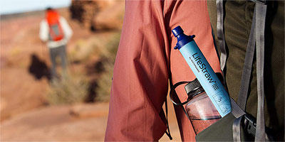 Lifestraw in backpack
