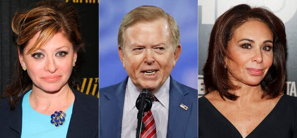 Maria Bartiromo, left, Lou Dobbs and Jeanine Pirro are among the defendants involved in a lawsuit again Fox.