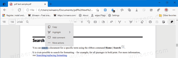 Edge Dev 90.0.789.1 is out with the PDF mini menu