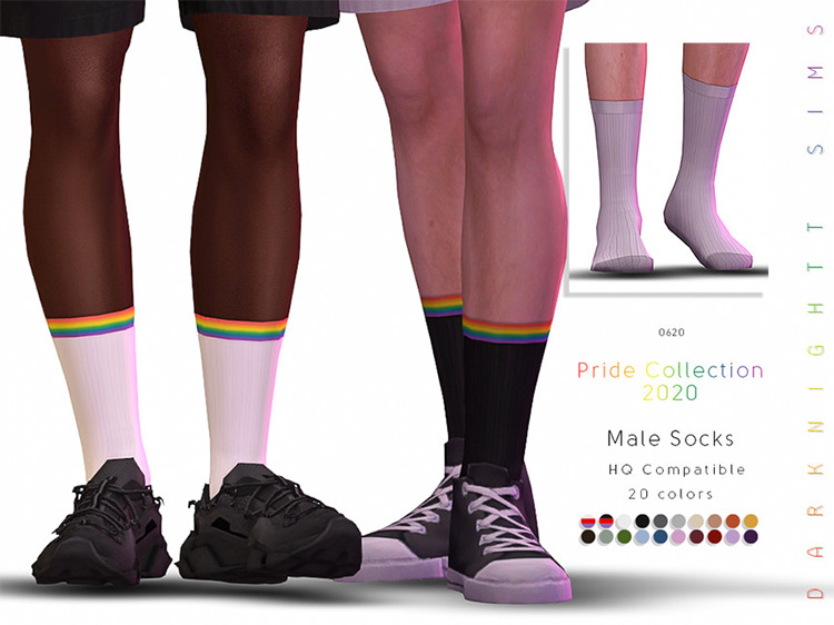 Pride Collection 2020 - Male Pride Socks by DarkNightTt TS4 CC