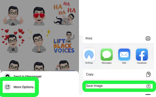 Save Facebook Avatar Sticker to iPhone Camera Roll