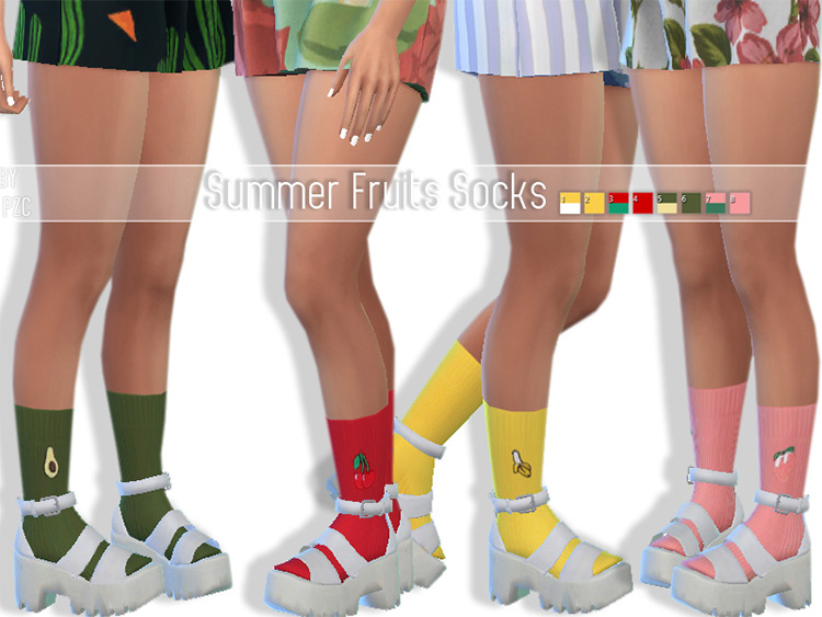 Summer Fruits Socks by Pinkzombiecupcakes Sims 4 CC